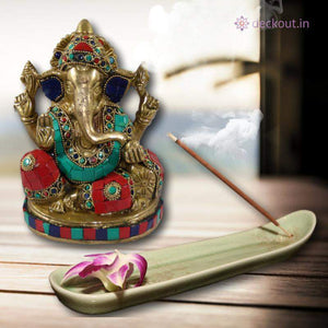 Stone Studded Brass Ganesha-deckout.in