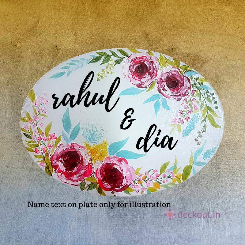 Hand Painted Oval Name Plate-Name Plate-deckout.in