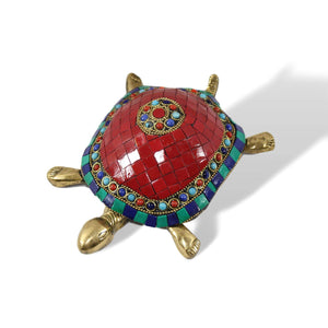 Stone Studded Brass Turtle - deckout.in