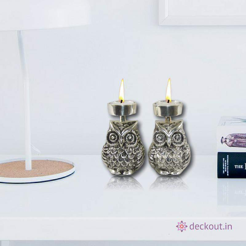 Twin Owls Candle Stand-deckout.in