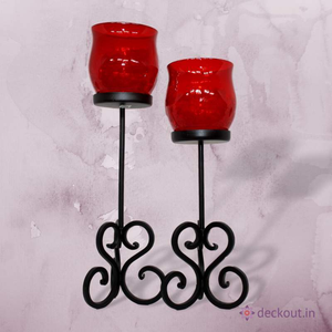 Red Votive Candle Lamp Pair - deckout.in