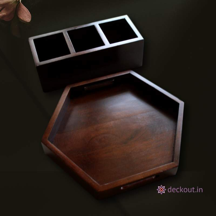 Hexa Walnut Tray & Cutlery Holder-Tray Set-deckout.in