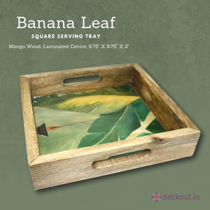 Banana Leaf Square Serving Tray-deckout.in