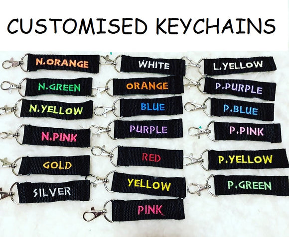 Customise Key Chain on Black nylon strap, up to 12 Characters (keychain) Teacher Children Gift