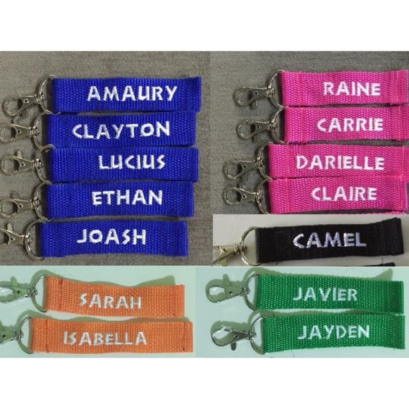 Customise Key Chain on nylon strap, up to 12 Characters (keychain)