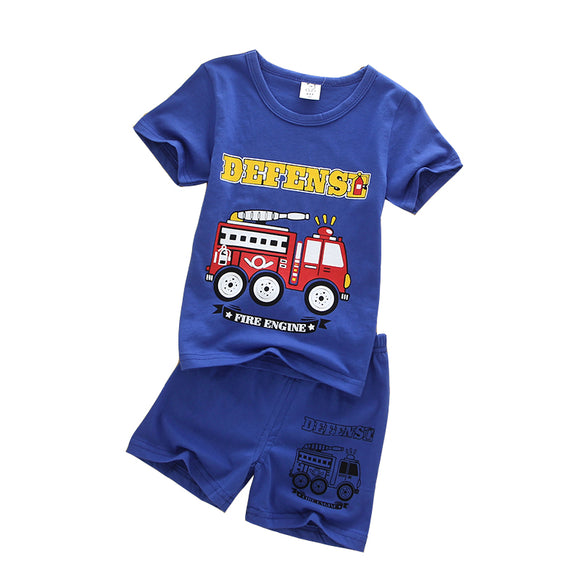 Fire Truck set Shirt and Shorts toddler kids 1-4 yr old Boy Clothes New Arrival