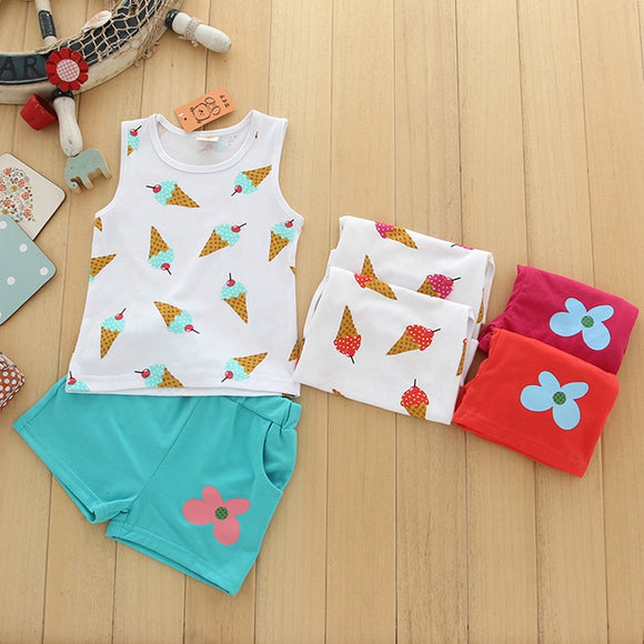 Ice Cream set  toddler kids 1-5 yr old Girl Clothes New Arrival