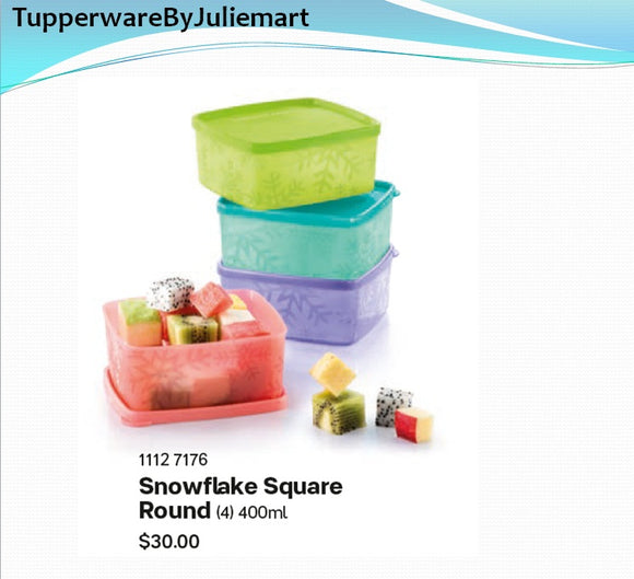 Tupperware SnowflakeSquareRound(set of 4)
