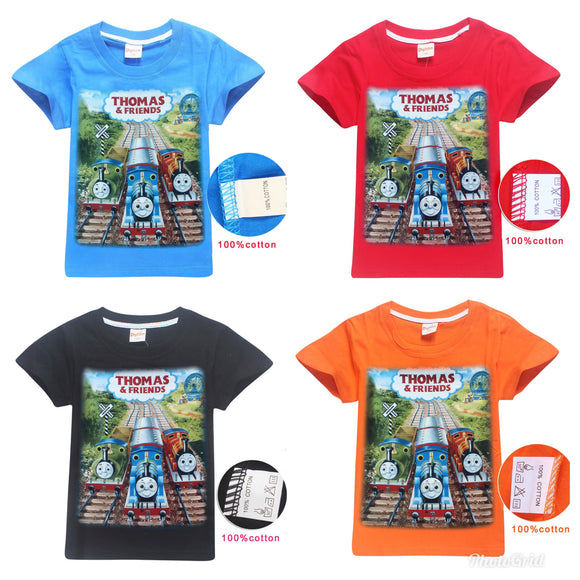 New Arrival thomas and friends Boy Clothes Short sleeve shirt cotton material