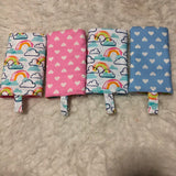 Rainbow with pink or blue hearts Drool Pad, Teething Pad, Carrier Protector