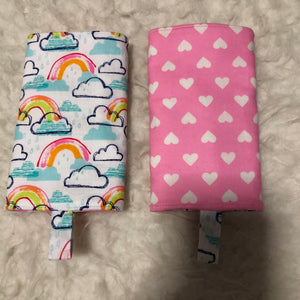 Rainbow with Blue or Pink hearts Drool Pad, Teething Pad, Carrier Protector