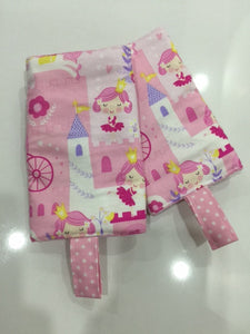 Princess Castle with Pink Dots Drool Pad, Teething Pad, Carrier Protector (Timeless Treasure)