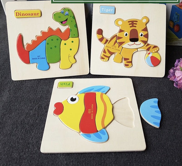 Children Gift - Wooden Animal Puzzle for children, learning tools