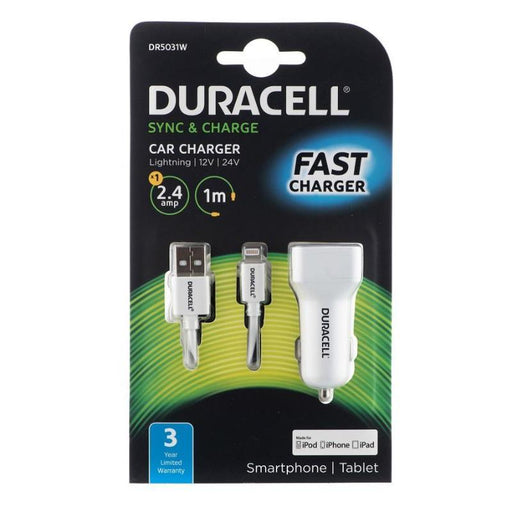Duracell Car Charger with 1m Lightning Cable 2.4A (White)_DR5031W_5055190181522_Accessory Lab