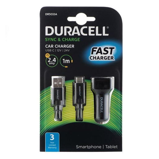 Duracell Car Charger with 1m Type C USB2.0 Cable (Black)_DR5033A_5055190191934_Accessory Lab