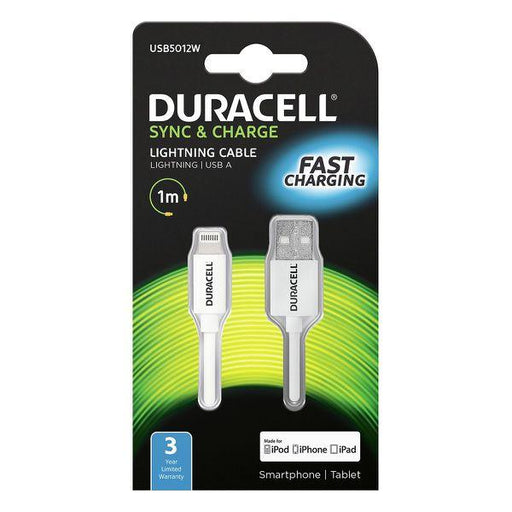 Duracell Lightning Sync & Charge Cable 1m (White)_USB5012W_5055190170014_Accessory Lab