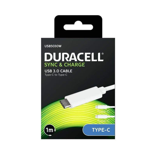 Duracell Type C/Type C Cable 1m (White)_USB5030W_5055190172742_Accessory Lab