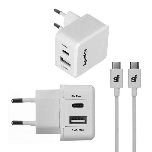Superfly Dual USB Wall Charger Kit (2.4A+1A+Type C/A Cable)_SFW2-34GCKIT3WHT_4036957402129_Accessory Lab
