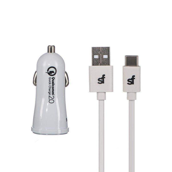 Superfly Quick Charge Car Charger Kit (USBA-C V2.0) (White)_SFC2-3413KIT4WHT_4036957402150_Accessory Lab