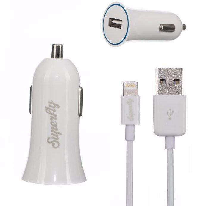 Superfly Single USB Car Charger (2.1A Lightning) (White)_SFCC-21L-WHT_9318018120193_Accessory Lab