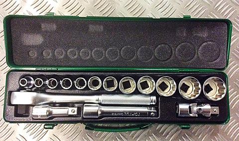 "TOPTUL 16piece 1/2"" DRIVE SOCKET SET"