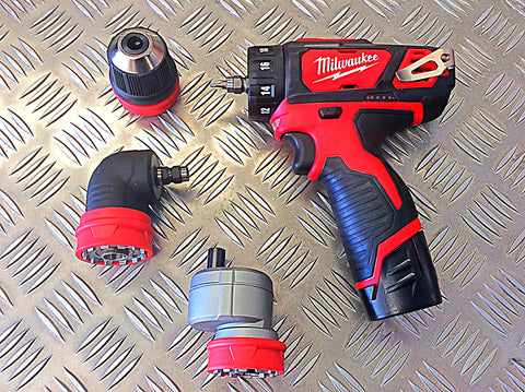 MILWAUKEE 12v DRIVER WITH CHUCK ATTACHMENTS