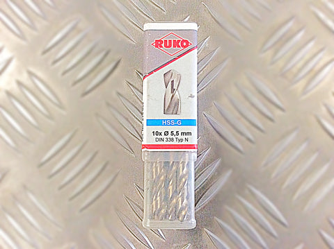 5.5mm GROUND HSS DRILL BITS PACK OF 10