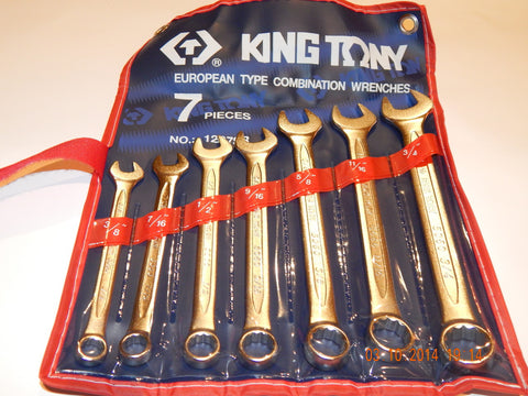 KING TONY 7 PIECE IMPERIAL COMBINATION SPANNER SET