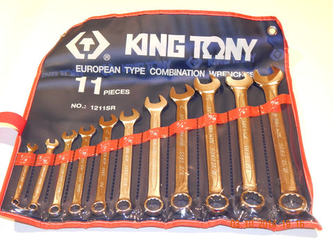 KING TONY 11 PIECE IMPERIAL COMBINATION SPANNER SET