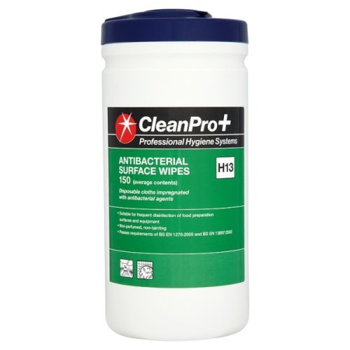 Clean Pro+ Antibacterial Surface Wipes 150 H13