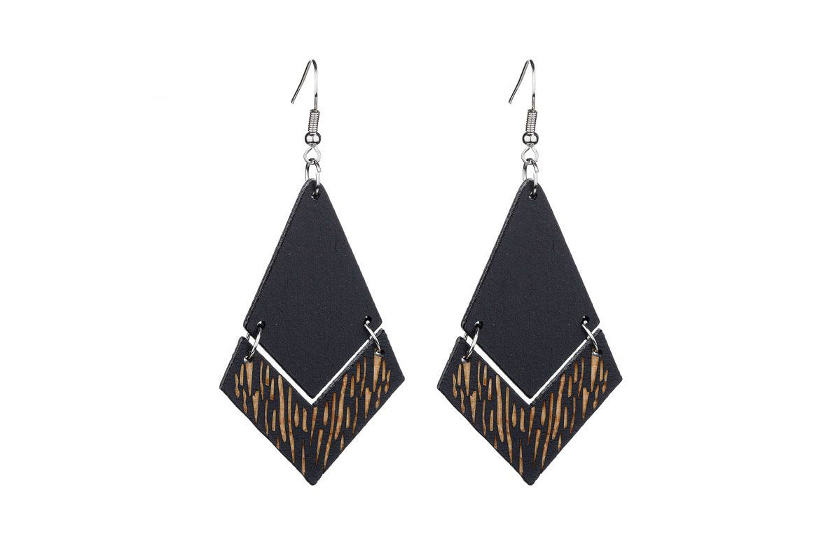Large Wooden Black Earrings - De'Žavu Boutique