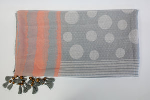 Printed Viscose Tassel Scarf With Wooden Detail - De'Žavu Boutique