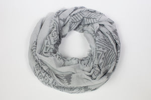 Printed Cotton Viscose Grey Scarf - De'Žavu Boutique