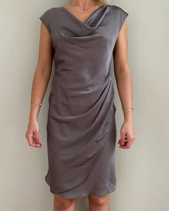 Mariposa brown satin dress - De'Žavu Boutique