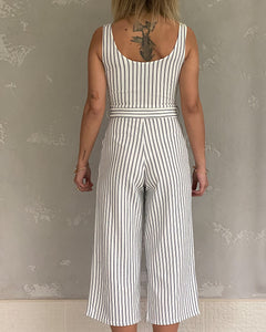 Stripy jumpsuit in white and navy - De'Žavu Boutique