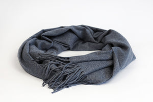 Warm Dusty Navy Wool Scarf - De'Žavu Boutique
