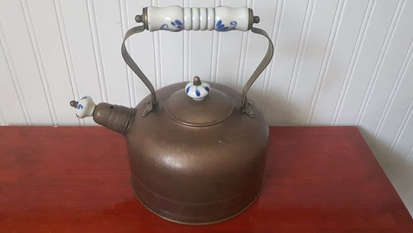 Vintage Copper Tea Pot, Delft Blue/White Porcelain Ceramic handles, w/ Boiling Water Spout - Treasure Valley Antiques & Collectibles