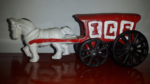 1950s Cast Iron Horse Drawn Ice Wagon - Treasure Valley Antiques & Collectibles
