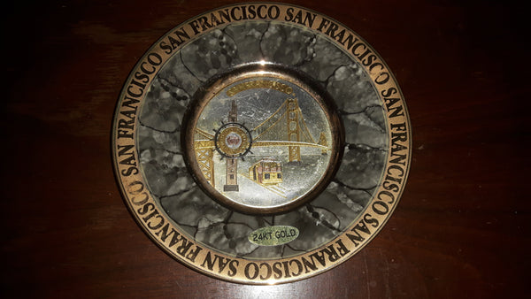 Vintage San Francisco Chokin Plate in Black 24KT Gold - Treasure Valley Antiques & Collectibles