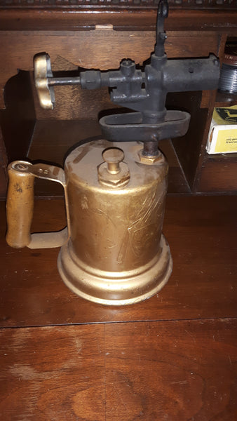 Antique Plumber's Blow Torch with Wood Handle - Treasure Valley Antiques & Collectibles