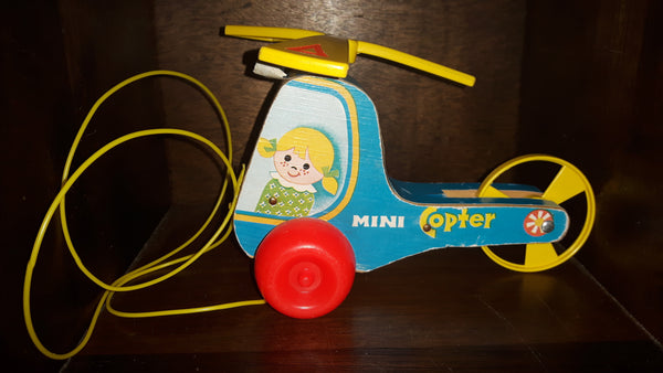 1970 Fisher Price Mini Copter Helicopter Wood Pull Toy - Treasure Valley Antiques & Collectibles