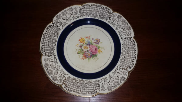 1920-1930 Wood's Ivory Ware Floral Pattern 24K Gold Gilded Charger Plate Royal Blue - Treasure Valley Antiques & Collectibles