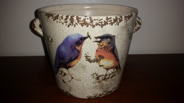 Vintage Crackle Stoneware Flower Pot with Handles Painted with blue birds sharing an insect - Treasure Valley Antiques & Collectibles