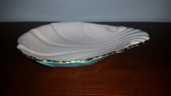 Vintage Carlton Ware Pink Turquoise Scalloped Shell Candy Dish Gold Gilt - Treasure Valley Antiques & Collectibles