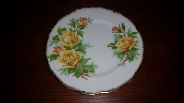 "1950s Royal Albert ""Tea Rose"" Yellow Bone China Salad Plate - Treasure Valley Antiques & Collectibles"