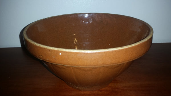 Vintage Brown-Tone Stoneware Pottery Bowl - Treasure Valley Antiques & Collectibles