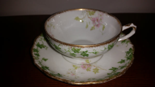 1899-1910 GDA France Limoges CH Field Haviland Frederick Buscombe Tea Cup & Saucer - Treasure Valley Antiques & Collectibles