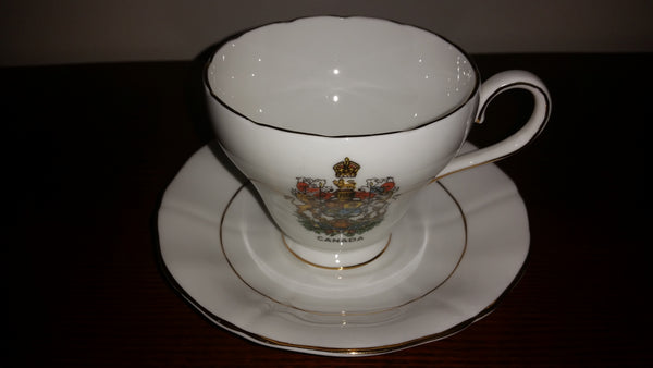 Vintage Royal Adderley Canada Souvenir Tea Cup & Saucer Coat of Arms - Treasure Valley Antiques & Collectibles