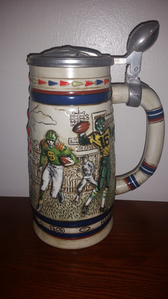 1983 Avon 1900-1980 Football History Lidded Beer Stein - Ceramarte Brazil - Treasure Valley Antiques & Collectibles