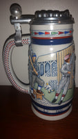 1984 Avon 1900-1980 Baseball History Lidded Beer Stein - Ceramarte Brazil - Treasure Valley Antiques & Collectibles